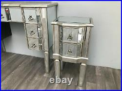 Mirrored Bedside Chest 2 Drawer Venetian Storage Furniture Home Decor Interiors