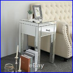 Mirrored Dresser Cabinet Bedroom Drawers Nightstand Console End Table Furniture
