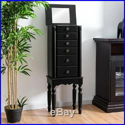 Mirrored Jewelry Cabinet Armoire Storage Box Chest Standing Organizer with Drawers