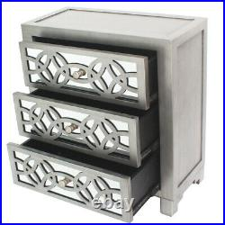 Mirrored Storage 3 Drawer Chest Cabinet End Side Table Nightstand Antique Finish