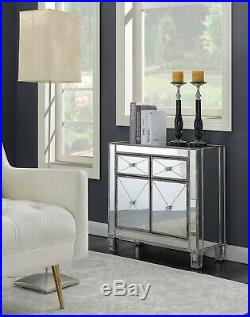 Mirrored Storage Cabinet Drawers Dresser Chest Side Table Nightstand Weathered