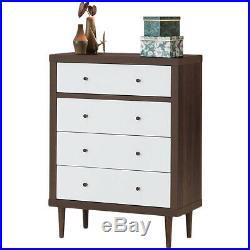 Modern 4 Drawer Dresser Wood Chest Storage Cabinet Organizer Free Stand