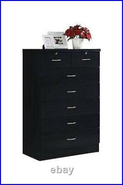 Modern 7-Drawer Dresser Clothes Storage Organizer Bedroom Chest Furniture Black