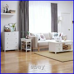Modern Chest of Drawers 5 Drawer Dresser White Bredroom Nightstand Wood Frame