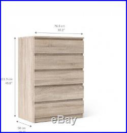 Modern Euro Style Bedroom Chest of 5 Drawers Dresser Clothes Storage Cabinet New