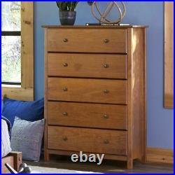 Modern Farmhouse 5 Drawer Dresser Chest of Drawers Bedroom Solid Wood Walnut 50