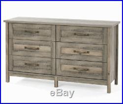 Modern Farmhouse 6 Drawer Double Dresser Chest Rustic Gray Antique Brass Metal