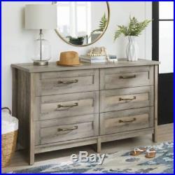 Modern Farmhouse 6 Storage Drawer Chest of Drawers Dresser Rustic Gray Finish