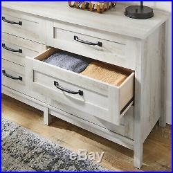Modern Farmhouse 6 Storage Drawer Chest of Drawers Dresser Rustic White Finish