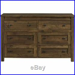 Modern Farmhouse Barn Wood Chest of 6 Drawers Storage Dresser Bedroom Furniture