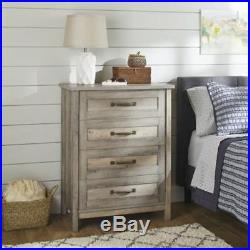 Modern Farmhouse Chest of 4 Storage Drawers Dresser Rustic Gray Finish
