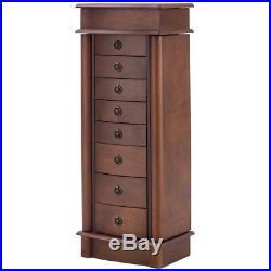 Modern Wooden Armoire Drawers Storage Chest Box Stand Jewelry Cabinet Walnut