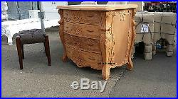 NATURAL shabby hand carved 100% mahogany wood chich ROCOCO chest of 4 drawers