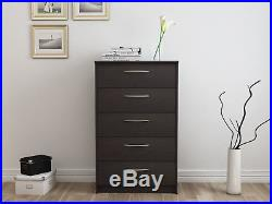 NEW 5 Drawer Chest of Drawers Dresser Storage Espresso Bedroom Office NEW