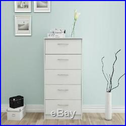 NEW 5 Drawer Chest of Drawers Dresser Storage White Bedroom Office NEW
