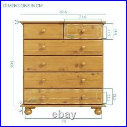 New 2+4 Solid Pine Wide Chest of Drawers Bedroom Furniture Storage Unit