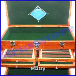 New 8 Drawer Wood Tool Chest Storage Box Felt Lined Hardwood Hd Chrome Hardware
