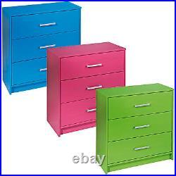 New York 3 Drawer Chest Bedroom Furniture Storage Cabinet Kids Playroom Drawers