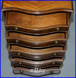 Nice Flamed Mahogany Bevan Funnell Serpentine Fronted Tall Boy Chest Of Drawers