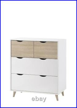 Nordic 4 Drawer Chest / 2 Over 2 Set of Drawers / White & Oak Bedroom Furniture