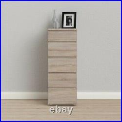 Nova Tall Narrow 5 Drawer Chest of Drawers in Truffle Oak Modern Style EU made