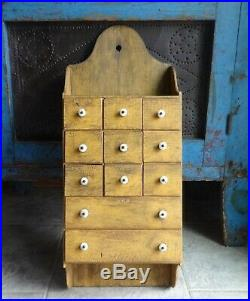 Oak 11 Drawer Spice Cabinet/Mustard Painted-Box/Cupboard/Apothecary/Chest/-AAFA