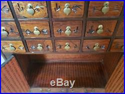 Oriental Korean 22 Drawer Medicine Chest Cabinet Apothecary Wood Brass Free Ship