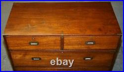 Original Circa 1900 Army & Navy C. S. L Stamped Military Campaign Chest Of Drawers