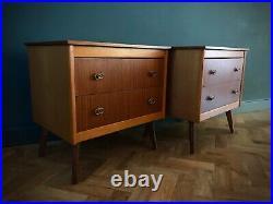 Pair Mid Century Vintage Bedside Chest of Drawers Dansette Legs 1960s Retro Teak