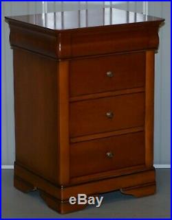 Pair Of Large Solid Cherry Wood Bedside Table Chest Of Drawers Part Of A Suite