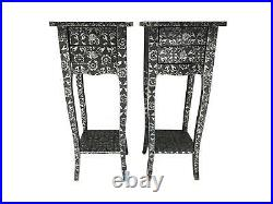 Pair Repousse Slim 2 Drawer Bedside Chest Bedroom Hammered Furniture Shabby Chic