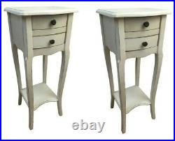 Pair Rubbed White 2 Drawer Bedside Chest Bedroom French Furniture Shabby SECONDS