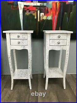 Pair White Slim 2 Drawer Bedside Chest Bedroom Hammered Furniture Chic Repousse