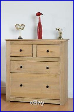 Panama 2+2 Drawer Chest in Natural Wax Solid Pine Wood Bedroom Furniture