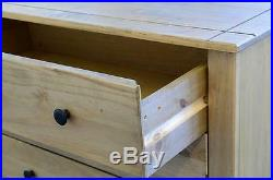 Panama 4 Drawer Chest in Natural Wax Solid Pine Wood Bedroom Furniture Mexican