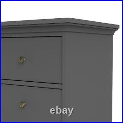 Paris Classic Chic Extra Large Wide 8 Drawer Chest of Drawers in Matt Grey