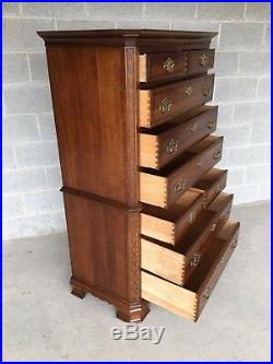 Pennsylvania House Cherry Chinese Chippendale Style 9 Drawer Chest On Chest