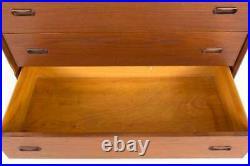 Peter Hvidt Style Mid Century Danish Teak 5 Drawer Highboy Dresser Chest