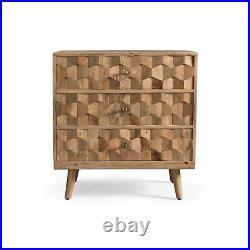 Poppy Mid-Century Modern Mango Wood 3 Drawer Chest