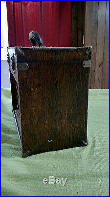 Portable Vintage 8 Drawer Machinist Tool Chest Box Oak Wood With Tools