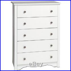 Prepac Monterey 5 Drawer Wood Chest of Drawers in White Finish