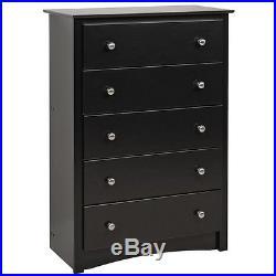Prepac Sonoma Black 5 Drawer Chest Wood chest of drawers Single