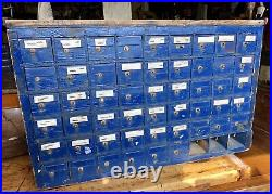 Primitive Antique 51 Drawer Hardware Store Parts Cabinet, Apothecary Chest