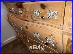 Pulaski Bombe Chest of Drawers Hand Painted French Provincial Furniture Dresser