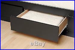 Queen Platform Bed Tall Frame Wood 12 Storage Underbed Drawers Black Chest
