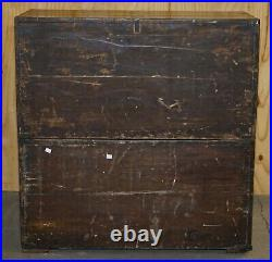 Rare Distressed Circa 1880 English Oak Military Campaign Used Chest Of Drawers