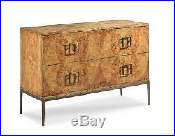 Rare Olive Ash Burled Wood Milo Baughman Style 2 drawer Chest Dresser NEW Custom
