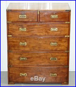 Rare Original 1870 Mahogany 6 Drawer 5 Tier Military Campaign Chest Of Drawers