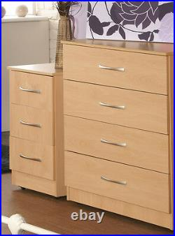 Ready Assembled Beech 4 Drawer Chest and 3 Drawer Bedside with FREE DELIVERY