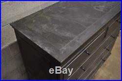 Restoration Hardware Annecy Metal Wrapped 5 Drawer Chest Dresser Zinc (A)
